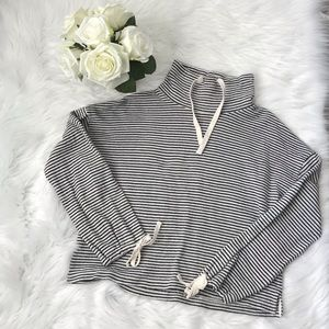 Mile(s) by Madewell Striped Funnel Neck Top Sz XS